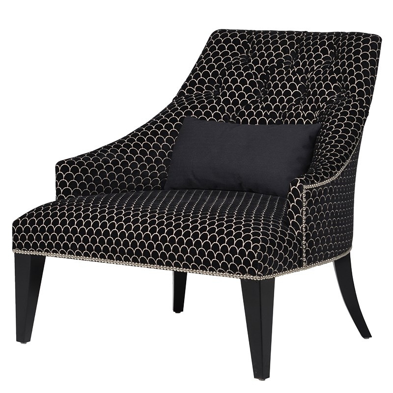 Armchair Black Pattern L 880 x W 850 x H 860 mm