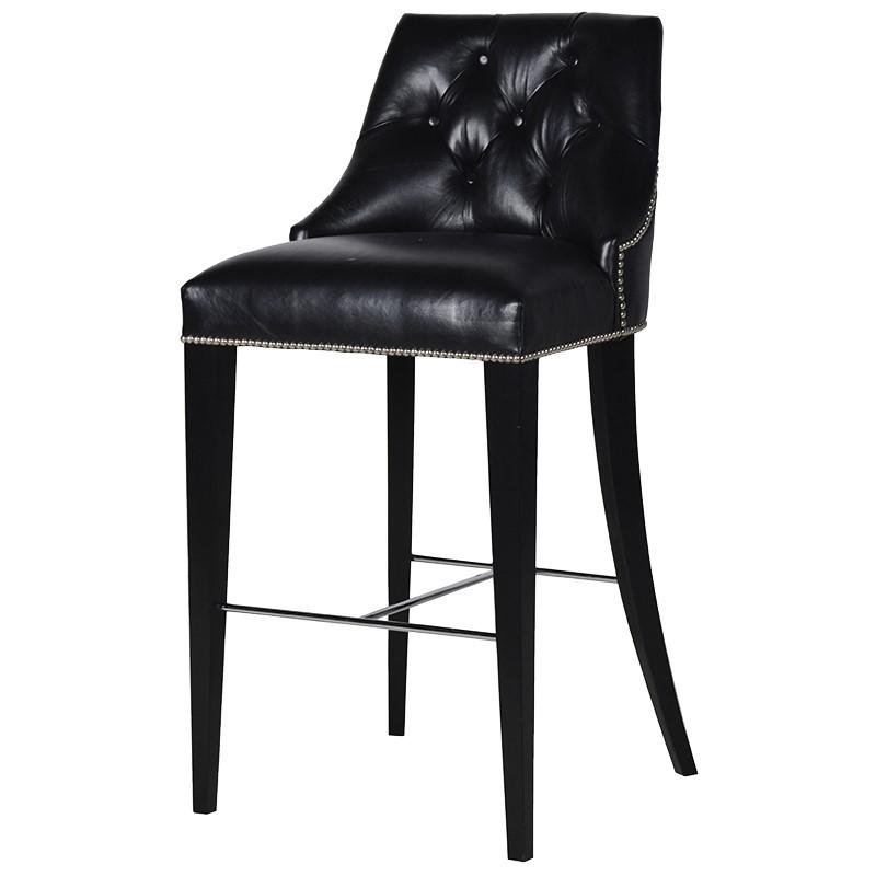 Barstool Leo Black Seat H. 80 cm