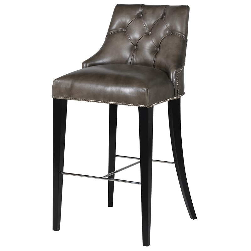 Bar Stool Jeremy Taupe Leather L 55 x l 62 x H 110...