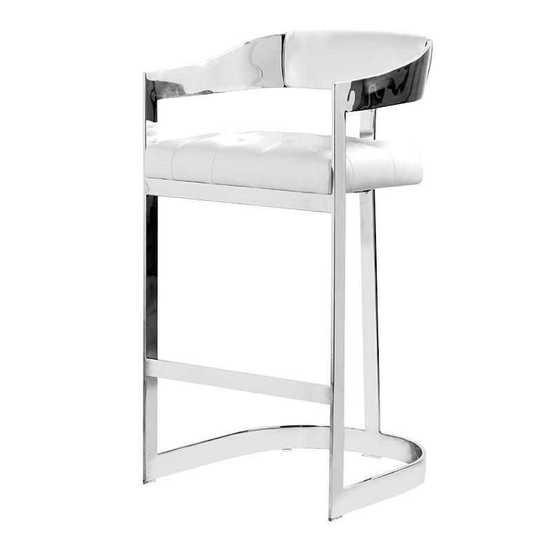 Barstool Ari white chrome L 51 x l 54 x H 100 cm