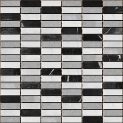 Mozaic marmura mixt alb gri negru MST026