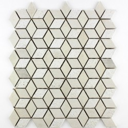 Mozaic din Marmura alba crem MST032 romb
