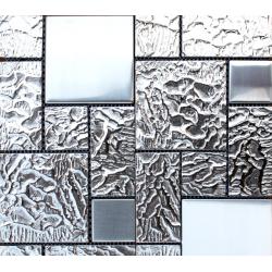 Mozaic sticla argintiu cu insertii metalice GL007