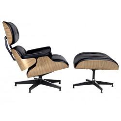 Set fotoliu si suport pentru picioare Lounge lemn de frasin si piele neagra