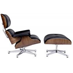 Set fotoliu si suport pentru picioare Lounge lemn de nuc si piele neagra