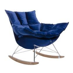 Fotoliu Swing cu tapiterie din catifea albastra