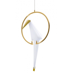Suspensie cu LED Loro 1 Circle alb si auriu 20x18 cm