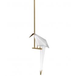 Suspensie moderna Loro alb si auriu 20x18 cm