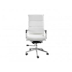 Scaun birou rotativ tapițat în piele albă cu cadru din oțel cromat Angel Cerdá