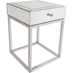 Noptiera cu sertar si baza argintie Madison 45x45 cm