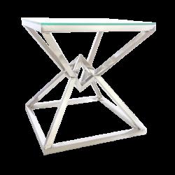 Masuta moderna argintie cu blat din sticla Grand 53x53 cm