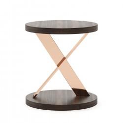 Masuta moderna din lemn si metal Sally Ø50 cm
