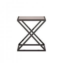 Masuta patrata din lemn si metal York 45x45 cm