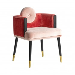Scaun Gruia lemn si catifea roz