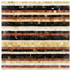 Mozaic marmura multicolor bej-maro-caramiziu-negru-alb MST035