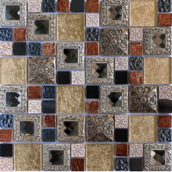 Mozaic sticla auriu cu insertii metalice decorative 079