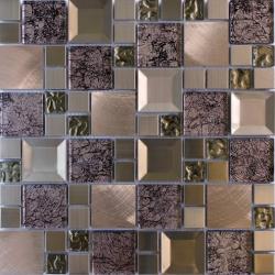 Mozaic sticla decorativ cu insertii metalice gri 080