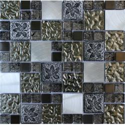 Mozaic Sticla decorativ cu insertii metalice argintii 081