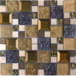 Mozaic Sticla decorativ auriu cu insertii metalice 083