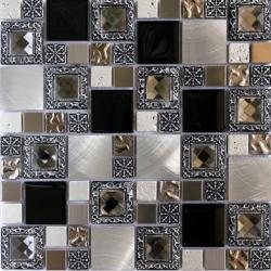 Mozaic sticla decorativ cu insertii metalice argintii 082