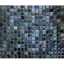 Mozaic sticla si marmura negru cu irizatii metalice MMX001