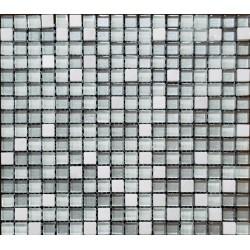 Mozaic mixt alb-gri din marmura si sticla MMX008