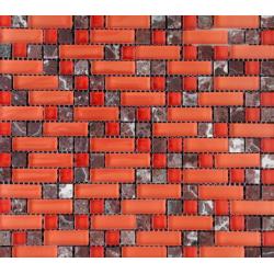 Mozaic sticla si marmura rosu MMX013
