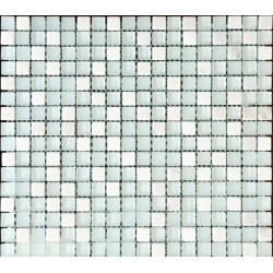 Mozaic alb mixt marmura si sticla MMX014