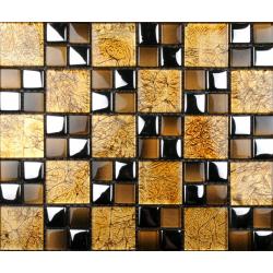 Mozaic sticla auriu cu insertii metalice XX-035