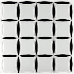 Mozaic alb cu negru din sticla MGL030