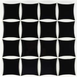 Mozaic negru cu alb din sticla MGL031