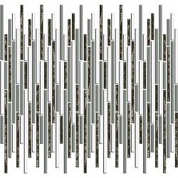 Mozaic sticla alb-argintiu baghete GL033