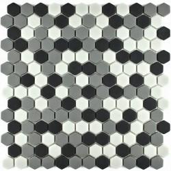 Mozaic sticla pt. piscina alb-gri-negru hexagonal 2 MBO004
