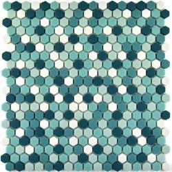 Mozaic sticla pt. piscina bleu-turcoaz hexagonal MBO003