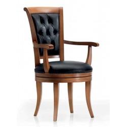 Scaun clasic din lemn si tapiterie cu piele Alonzo